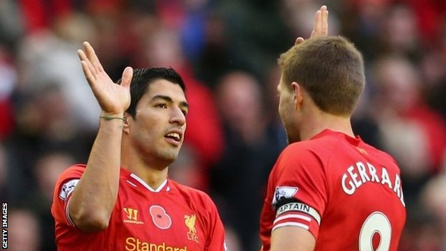 Luis Suarez and Steven Gerrard celebrate against Fulham