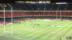 South Africa checking on the pitch at the Millennium Stadium