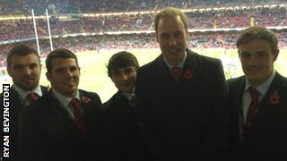 Prince William with Wales rugby players