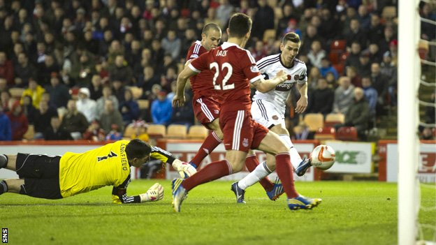 Jamie Walker slips the ball past Aberdeen goalie Jamie Langfield to make it 1-1