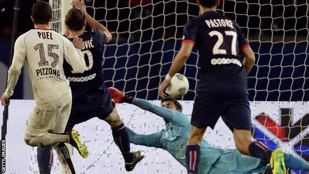 Paris St-Germain striker Zlatan Ibrahimovic scores against Nice