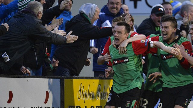 Glentoran's Jason Hill celebrates scoring the winner against Dungannon Swifts at Stangmore Park