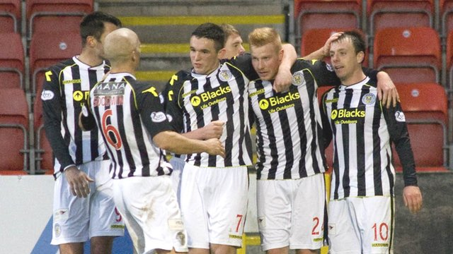 St Mirren players celebrate their second goal against Partick Thistle