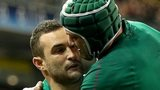 Rory Best congratulates double try scorer Dave Kearney
