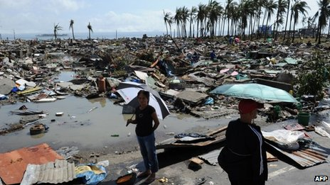 Flattened houses in coastal area of Tacloban - 10 November