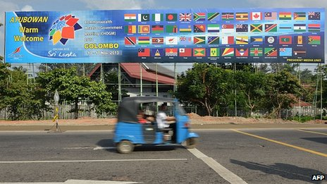 Poster announces the Commonwealth Heads of Government Meeting (CHOGM)