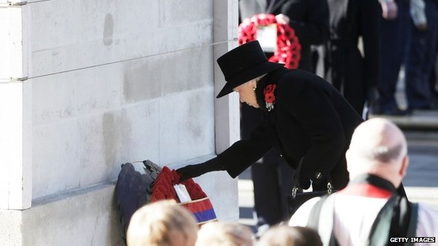Queen laying wreath at Cenotaph