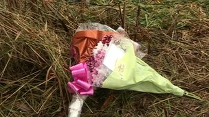 Flowers at crash scene
