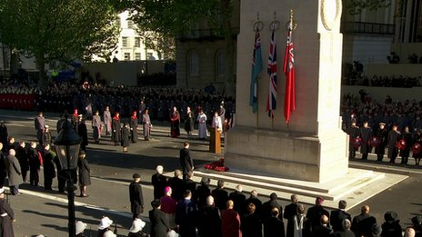 Service taking place at the Cenotaph on Remembrance Sunday, 10 November 2013