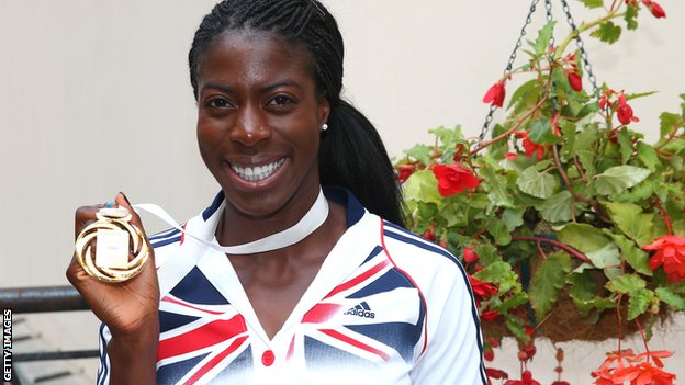 Athlete Christine Ohuruogu with her 2013 World Championship 400m gold