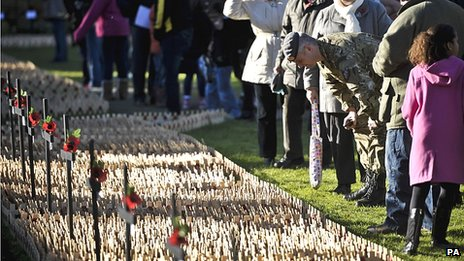 Royal Wootton Bassett Field of Remembrance at Lydiard Park, Wiltshire