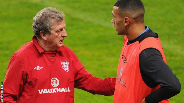 England manager Roy Hodgson with Steven Caulker