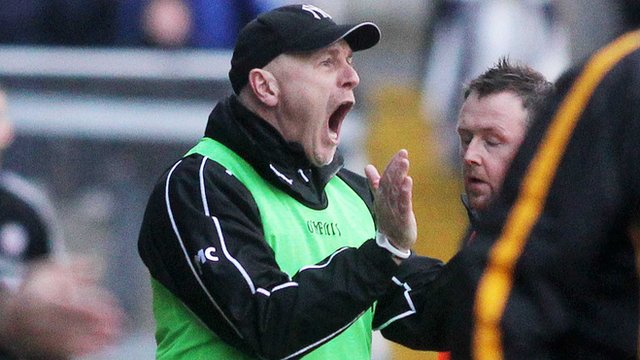 Kilcoo manager Jim McCorry encourages his players during Sunday's Ulster Club Football replay