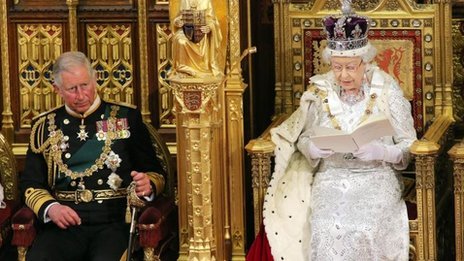 Prince of Wales listens as the Queen delivers her speech at the State Opening of Parliament on 8 May 2013