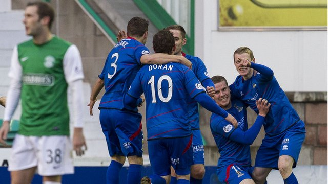 Inverness players celebrate Billy McKay's goal against Hibs