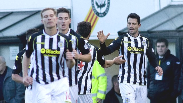 St Mirren striker Steven Thompson is congratulated on his goal