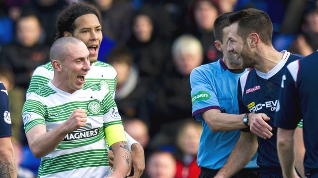 Celtic captain Scott Brown and Ross County right-back Mihael Kovacevic
