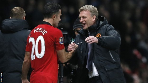 David Moyes & Robin van Persie celebrate