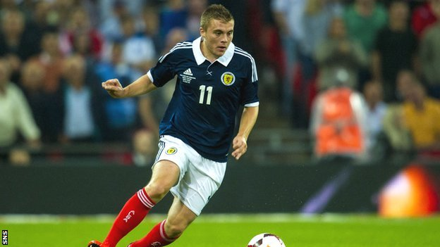 James Forrest in action for Scotland