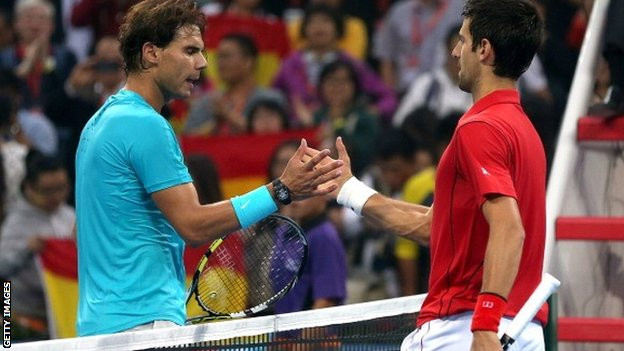 Rafael Nadal (left) with Novak Djokovic