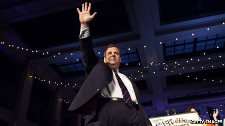 Republican New Jersey Governor Chris Christie celebrates his election victory on 5 November 2013