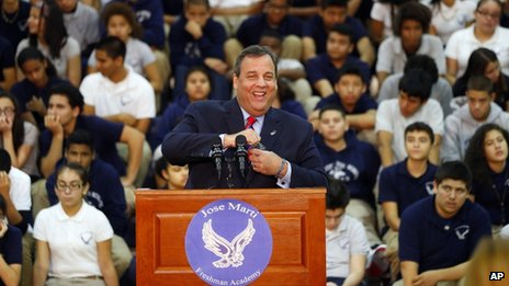 Chris Christie visits Jose Marti Freshman Academy in Union City, New Jersey, on 6 November