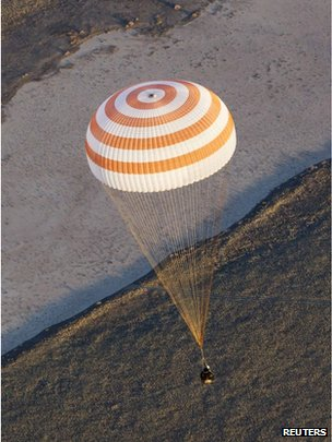 The Soyuz capsule carrying the Olympic torch and three astronauts descends beneath a parachute before landing in central Kazakhstan November 11, 2013
