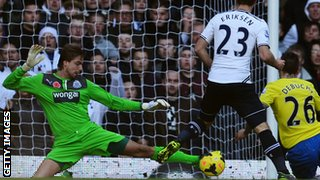 Tim Krul makes another save against Manchester City