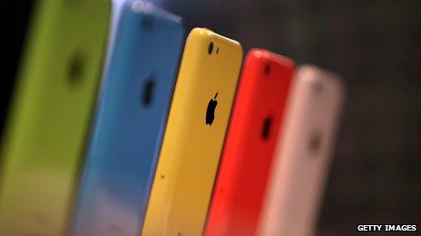 Colourful iPhone 5Cs in a row