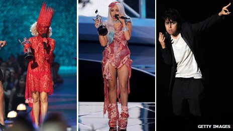 Lady Gaga in a variety of outfits