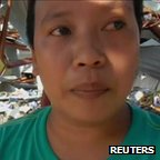 Grocery store owner Awelina Hadloc in Tacloban (11 Nov 2013)