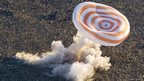 Soyuz rocket landing using a parachute