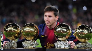 Lionel Messi and his four Ballon D'Or awards
