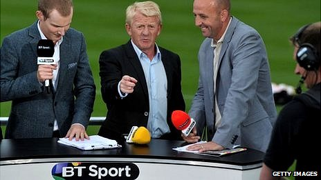 Scotland manager Gordon Strachan (centre) and other BT Sport TV guests