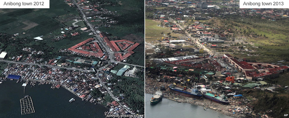 Before and after - Anibong town near Tacloban