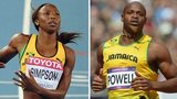 Sherone Simpson (left) and Asafa Powell