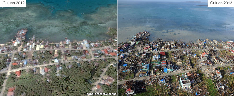 Before and after - Guiuan town