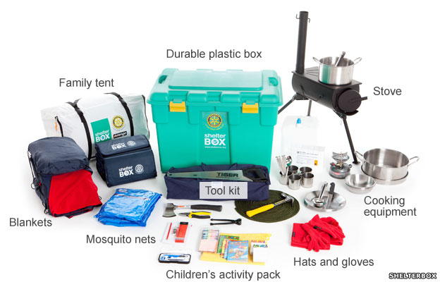 Shelter kit containing box, stove, tent, blankets, cooking equipment, tool kit, children's pack, hats and gloves and mosquito nets