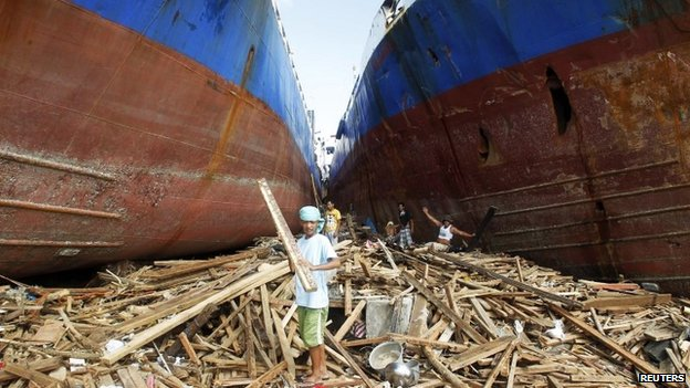 Ships washed ashore by the typhoon in Tacloban, Philippines 11 November 2013