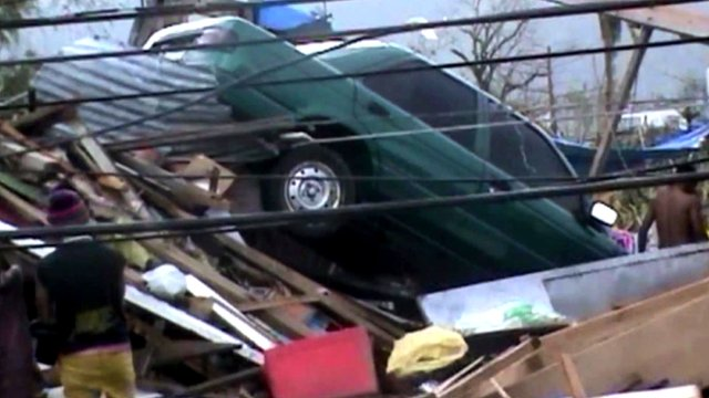 Car in damaged Philippines