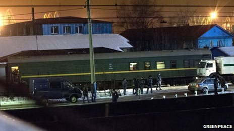 Train believed to be transporting Greenpeace activists and journalists in Russia. Pic: Greenpeace
