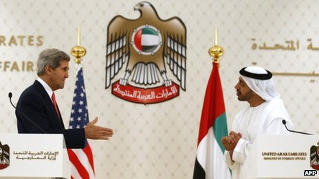 US Secretary of State John Kerry and UAE Foreign Minister Abdullah bin Zayed al Nahyan (11/11/13)
