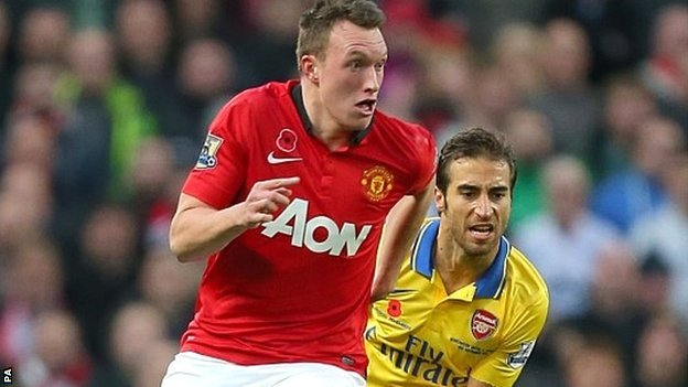 Phil Jones in action for Manchester United against Arsenal