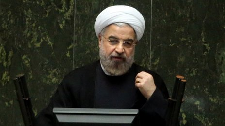 Iranian President Hassan Rouhani speaks during a parliament session in Tehran, Iran