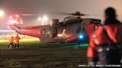 Royal Navy Search and Rescue helicopter lands in Jersey