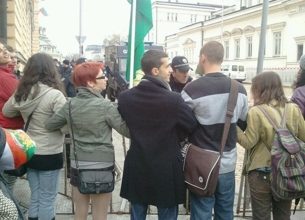 Protesters in Sofia, 12 November (photo by Anna Stambolieva)