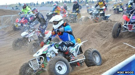 Quad bikers at Skegness beach race