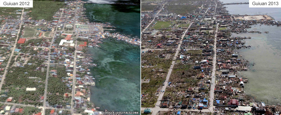 Before and after: Guiuan coast