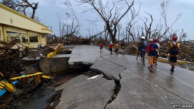 A collapsed bridge in Leyte, Philippines, 12 November 2013