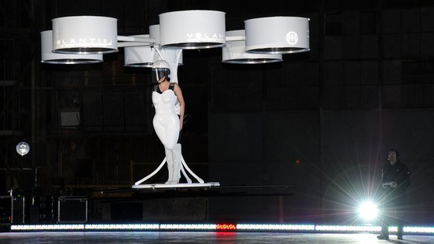 Lady Gaga in her flying 'dress'